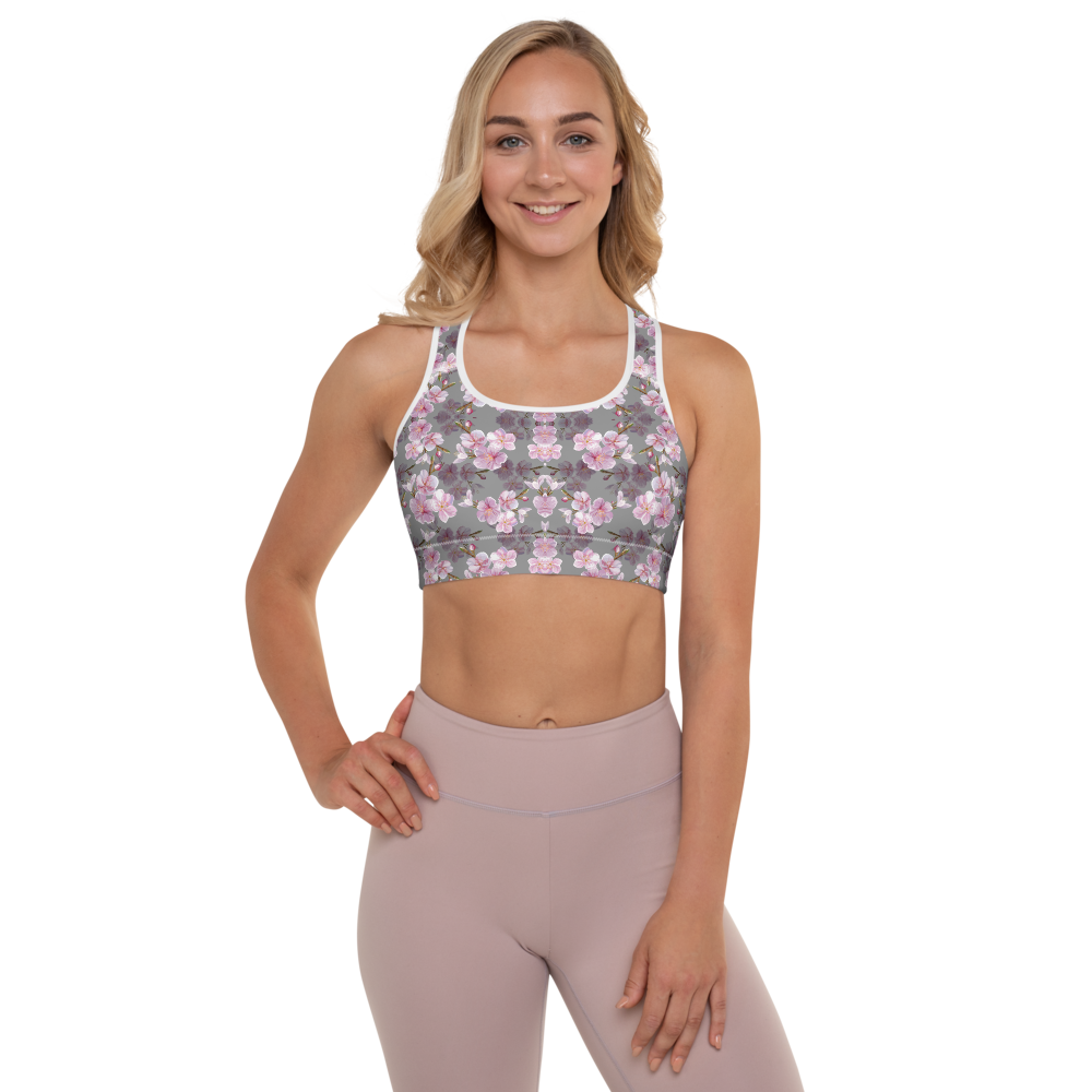 Cherry Blossom Womens Padded Sports Bra