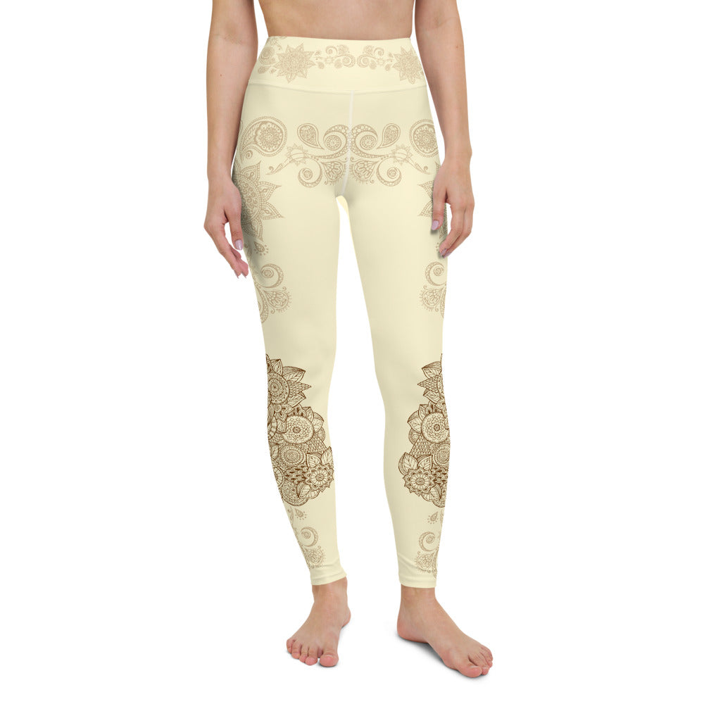 Golden Mandala High Waist Womens Yoga Leggings