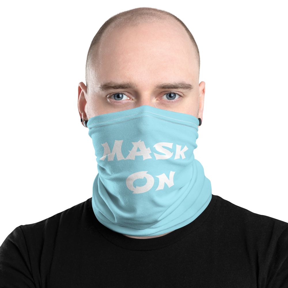 Mask On Blue Neck Gaiter
