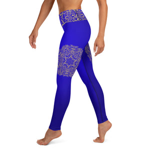 Blue & Gold Mandala High Waist Womens Yoga Leggings