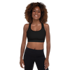 Solid Black Womens Padded Sports Bra