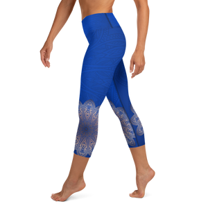 Island Blue High Waist Yoga Capri Leggings