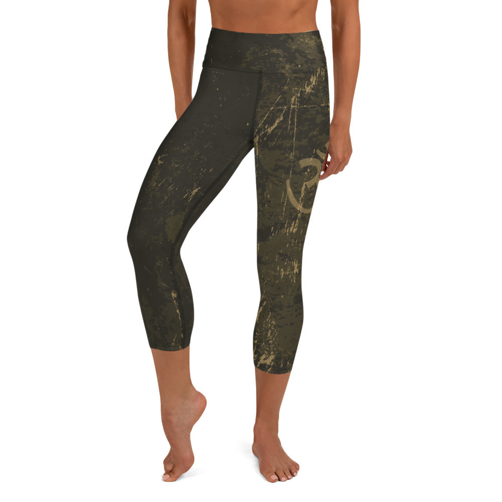Aum High Waist Womens Yoga Capri Leggings