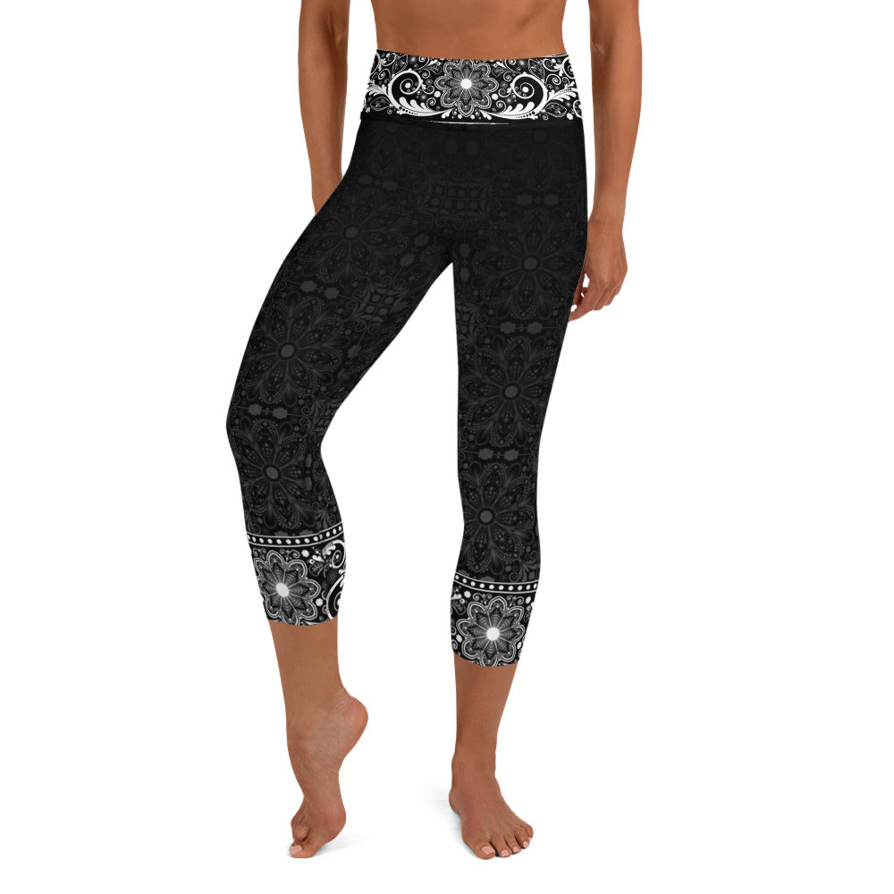 Jhana Black High Waist Women's Yoga Capri Leggings