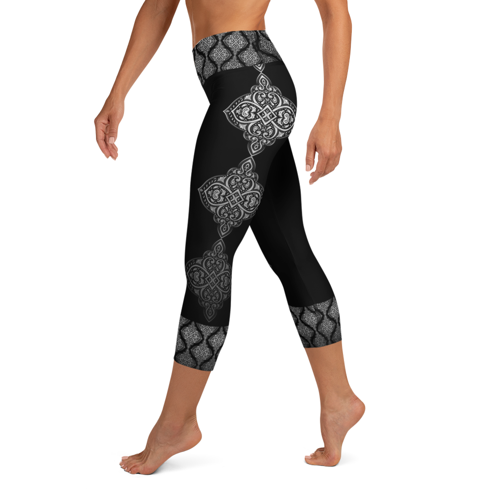 Ahisma Silver High Waist Women's Yoga Capri Leggings