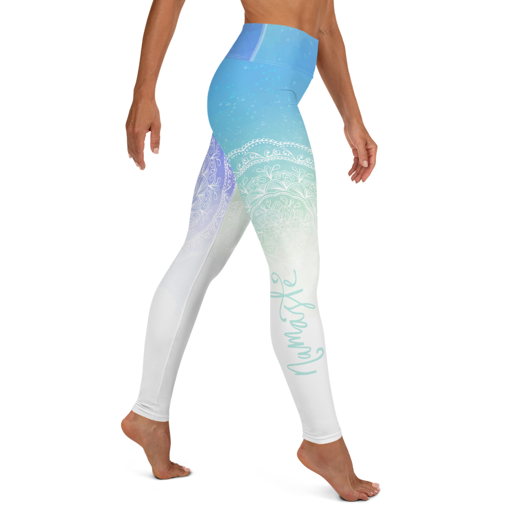 Namaste Blue Gradient High Waist Womens Yoga Leggings
