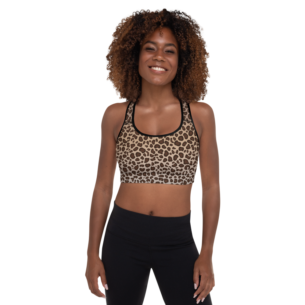 Leopard Print Padded Sports Bra