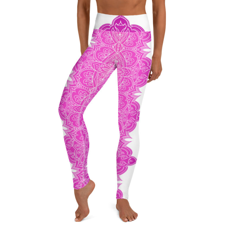 Chakra (Pink Gradient) High Waist Womens Yoga Leggings