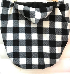 Fleece Lovey Cover- Black/White Buffalo Plaid