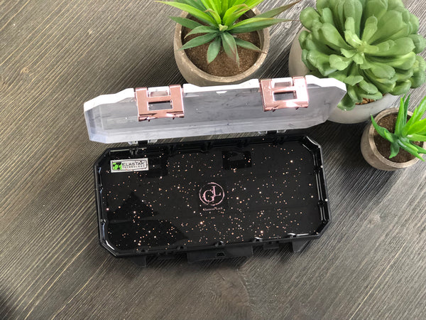 Glamour Lock Marble & Black Travel Box- Small