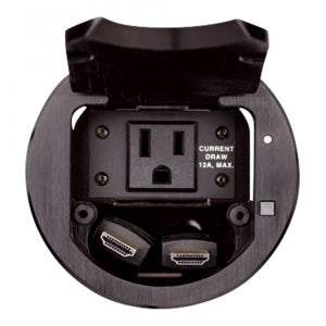 T3-IPS-BLK TBK1 Round Table Box with Retracting HDMI Cables  - Single Power