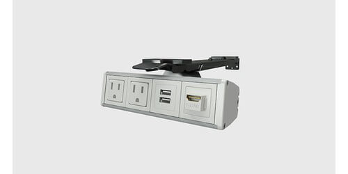 Assemble-Reveal Undermount Conference Power Table Box with Charging USB and HDMI