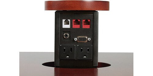 PNP417 Dual Sided Pop Up Table Box with Power, Data, VGA, Telephone - Custom Table Top Surface