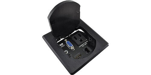 T3-PC1D-SQBLK Round Multimedia Table Box - HDMI, Lan, VGA, Audio and Power