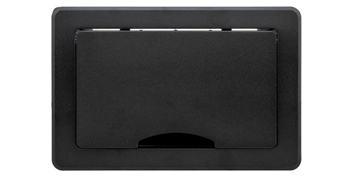 TBUS-1Axl-TBK7 Pre-Configured Table Well AV Box with Titlting Lid - Black