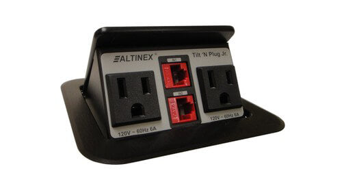 TNP151 Tilit 'N Plug Jr Tabletop Box with Bower and Cat6 Etherent - Black
