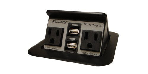 TNP155 Charging Conference Room Table Box - 2 Power & 2 Charging USB - Black