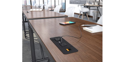 Cove-RJ Desk and Table Surface Mount USB Charging Station with Ethernet