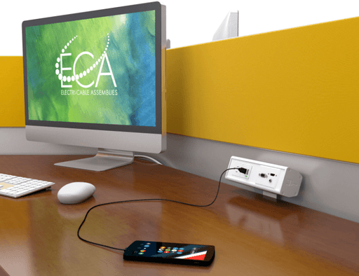 Seclusion-USB Table Edge Power, Data, and USB Charging Clamp Box