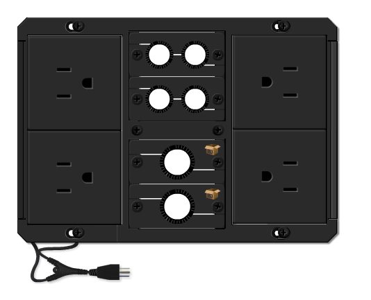 TBUS-1Axl-TBK3 Pre-Configured Table Well AV Box with Titlting Lid - Black