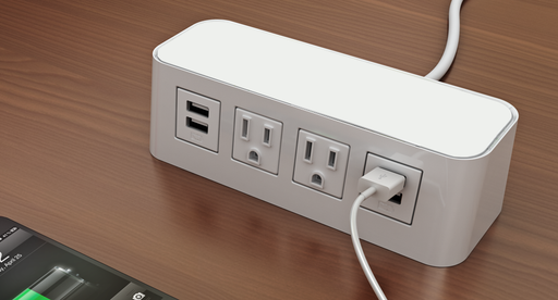 Burele Surface Mount Charging Station - 2 Power, 4 USB Charging Ports