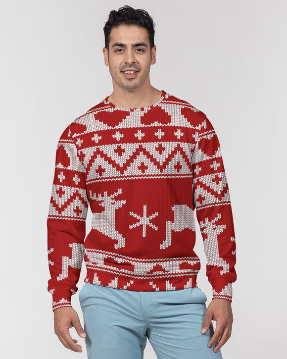 Cheerful Masculine Classic French Terry Crewneck Pullover