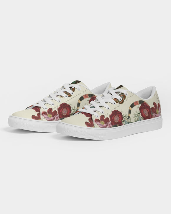SMF Snake On Flowers Feminine Faux-Leather Sneakers