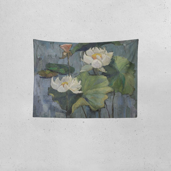 Oil painting white lotus Tapestry 80