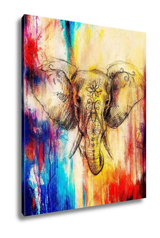 Gallery Wrapped Canvas, Elephant With Floral Ornament Pencil Drawing On Paper Color Effect And Computer