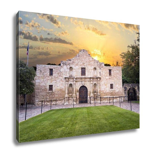 Gallery Wrapped Canvas, Exterior View Of Historic Alamo Shortly After Sunrise