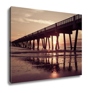 Gallery Wrapped Canvas, Jacksonville Beach Fishing Pier In Early Morning