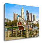 Gallery Wrapped Canvas, Columbus Ohio Cityscape With The Santa Maria In The Foreground