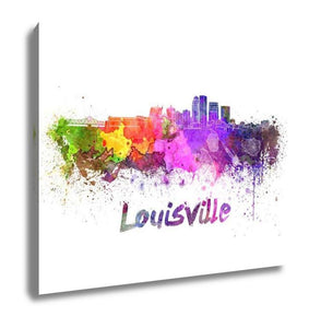 Gallery Wrapped Canvas, Louisville Skyline In Watercolor