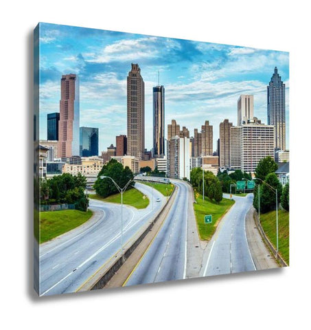 Gallery Wrapped Canvas, City Of Atlantgeorgidowntown Skyline And Highway