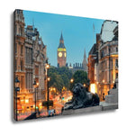 Gallery Wrapped Canvas, Street View Of Trafalgar Square At Night In London