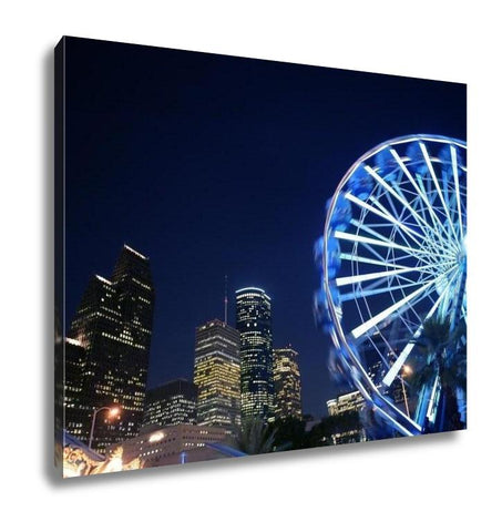 Gallery Wrapped Canvas, Ferris Wheel At The Fair Night Lights In Houston