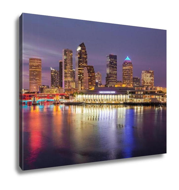 Gallery Wrapped Canvas, City Skyline Of Tampa Florida At Sunset