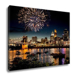 Gallery Wrapped Canvas, Fireworks Over Skyline Ohio River At A Fourth Of July Festival In Cincinnati