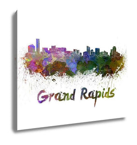 Gallery Wrapped Canvas, Grand Rapids Skyline In Watercolor
