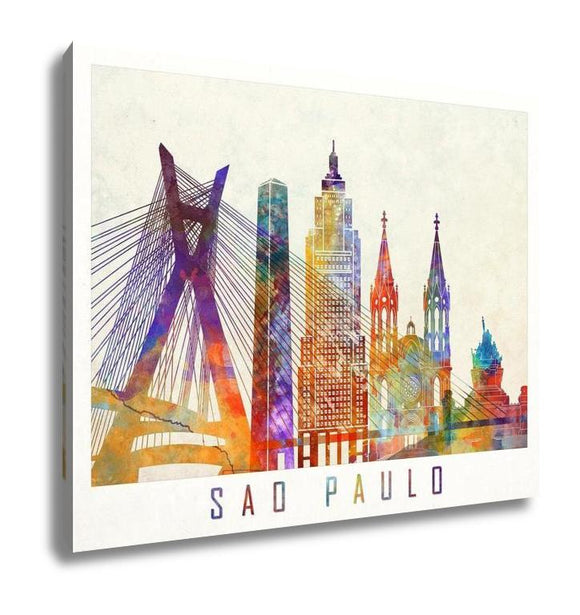 Gallery Wrapped Canvas, Sao Paulo Landmarks In Artistic Watercolor Poster