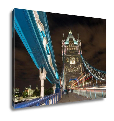 Gallery Wrapped Canvas, Detail Of Tower Bridge In London At Night With Car Light Trail