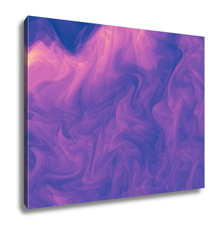 Gallery Wrapped Canvas, Lowkey Purple Pink Modern Abstract Fractal Art Dark Illustration With A Chaotic