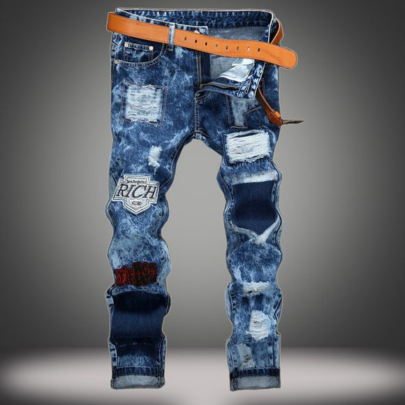 SMF LA Don Ripped Patchwork Jeans