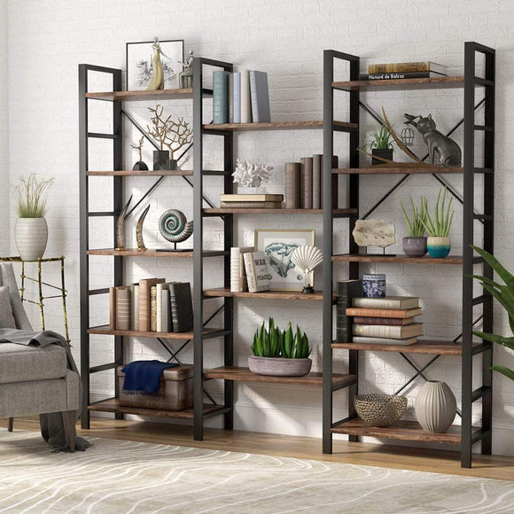 SMF Triple Wide 5-Shelf Vintage Bookcase