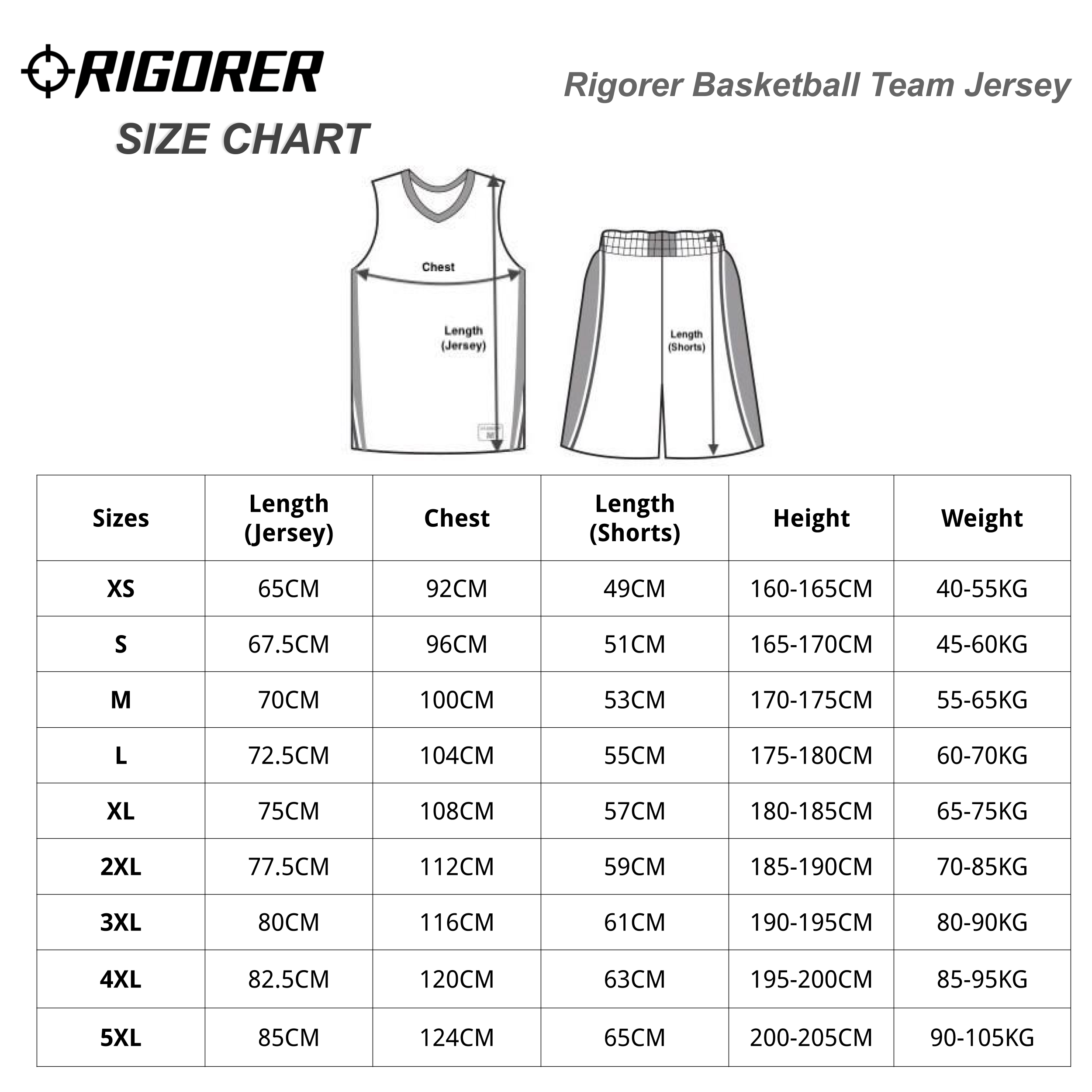 Rigorer Basketball Team Jersey Size Chart SLIM