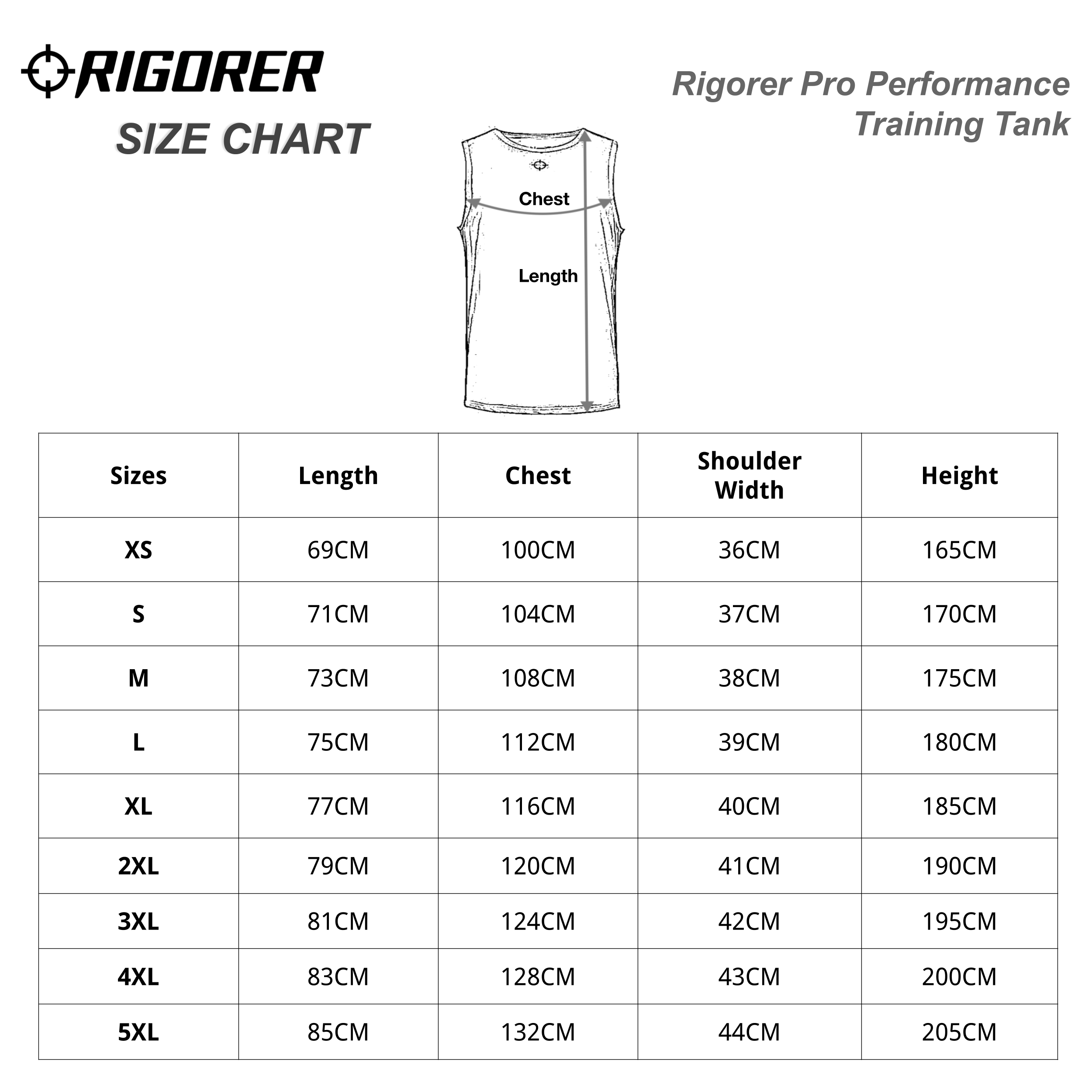 Rigorer Pro Performance Training Tank Sizing Chart