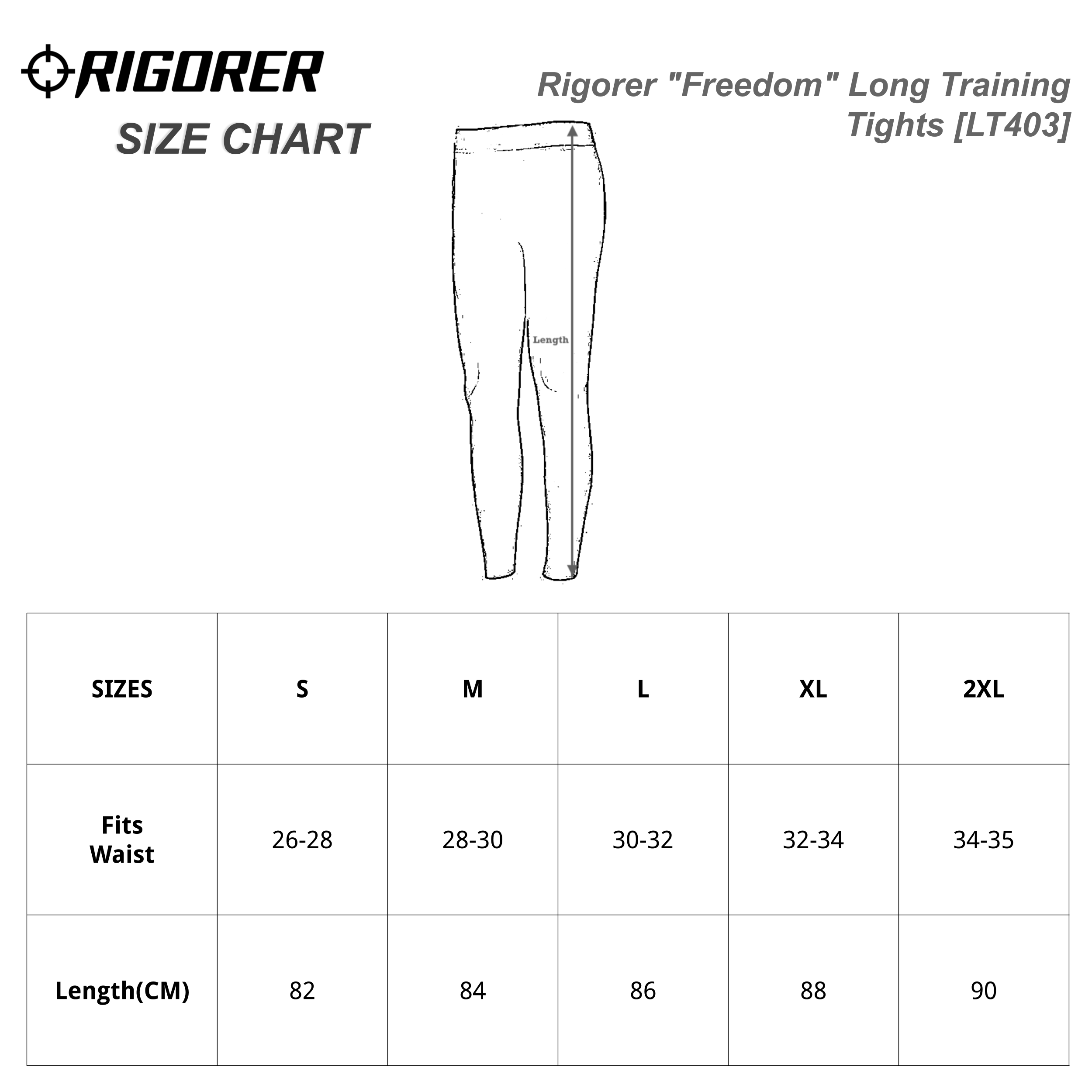 "Rigorer ""Freedom"" Long Training Tights [LT403] Sizing Chart"