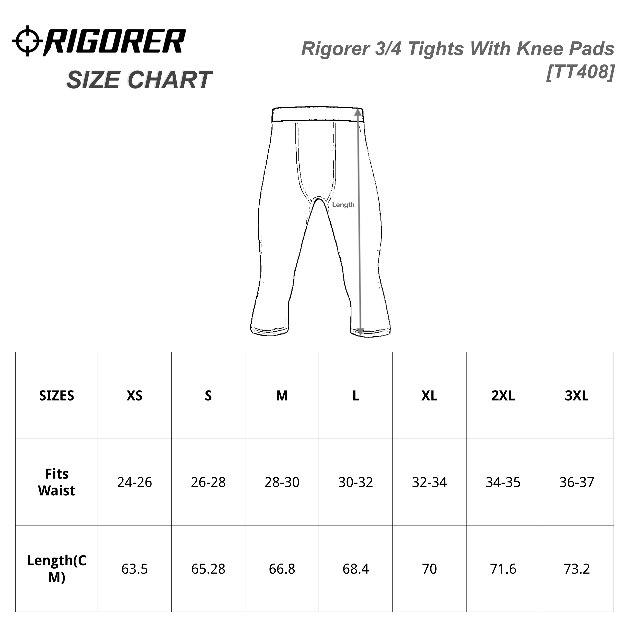 Rigorer 3/4 Tights With Knee Pads [TT408] Sizing Chart