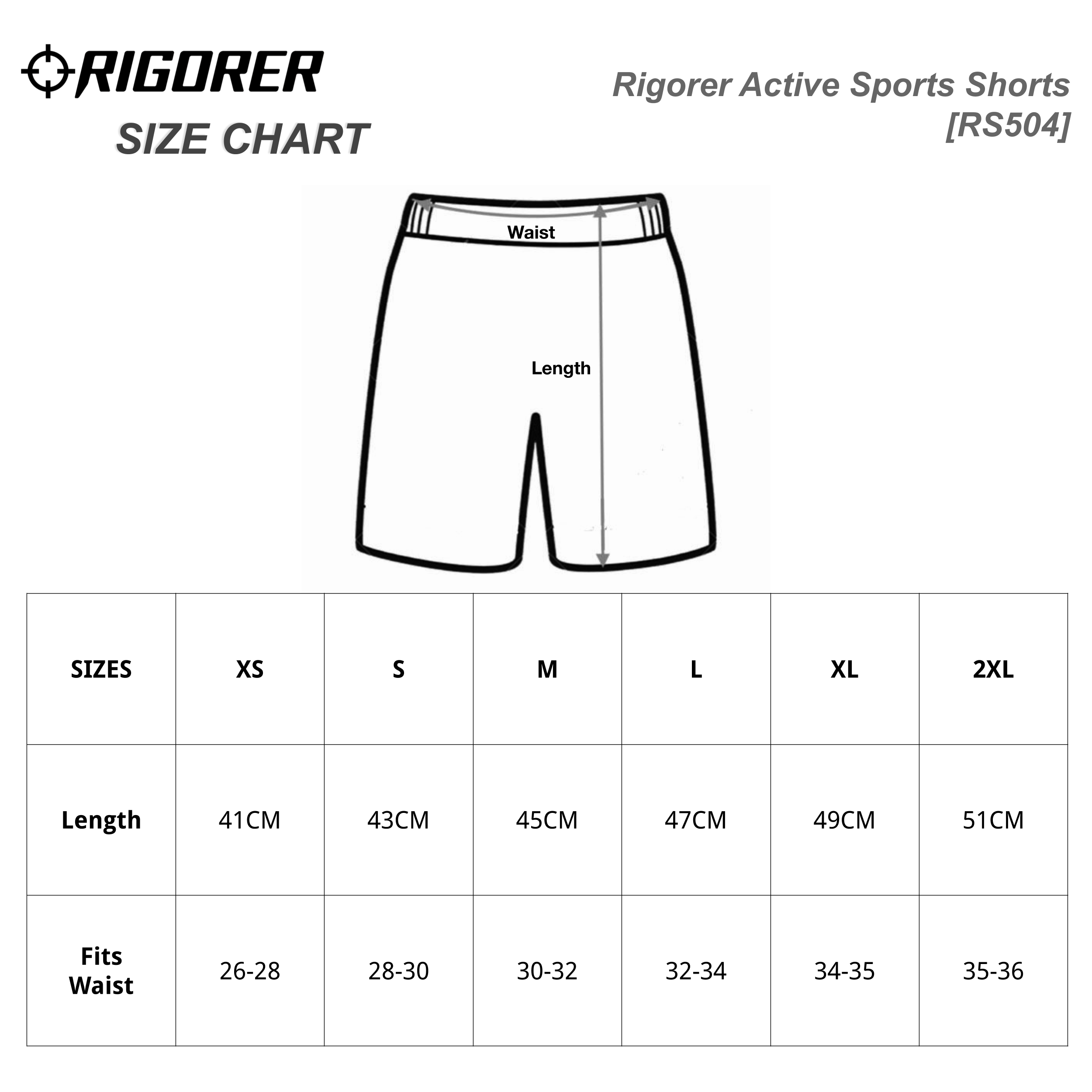 Rigorer Active Sports Shorts[RS504] Sizing Chart