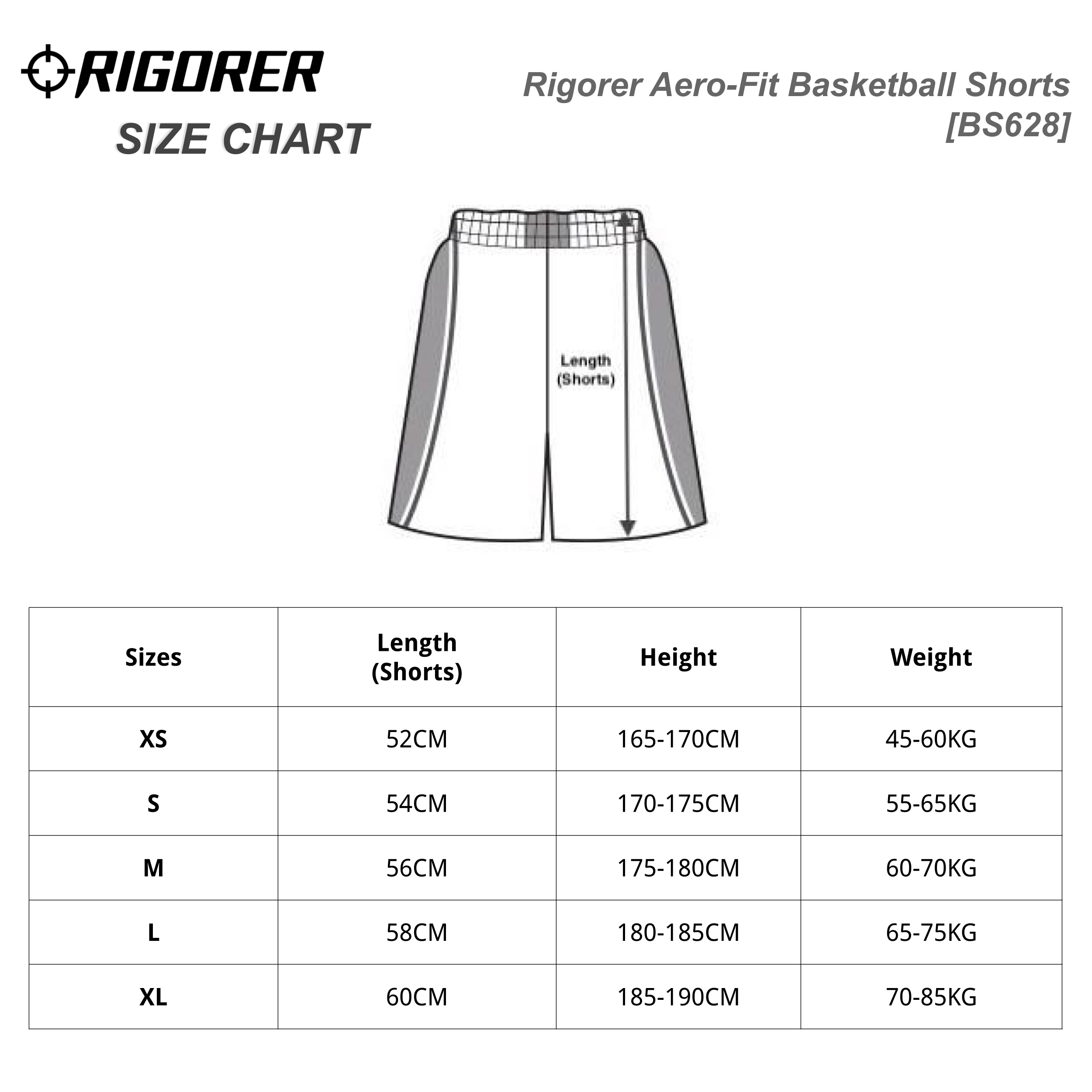 Rigorer Aero-Fit Basketball Shorts [BS628] Sizing Chart